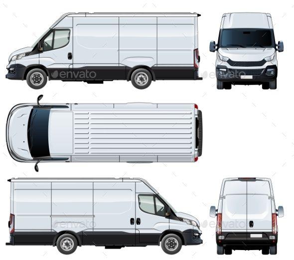 Vector Van Template Isolated On White Train Illustration Van Truck Detailing