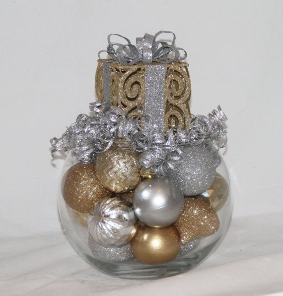 Gold silver christmas centerpiece bubble by