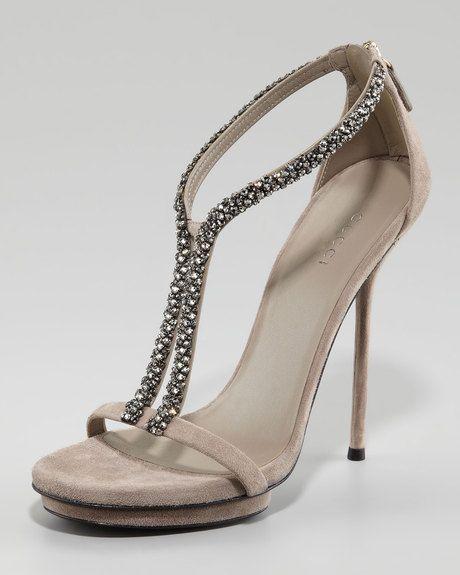 3f178ff3588 Gucci Naomi Crystal Sandal in Beige (grey black) - Lyst
