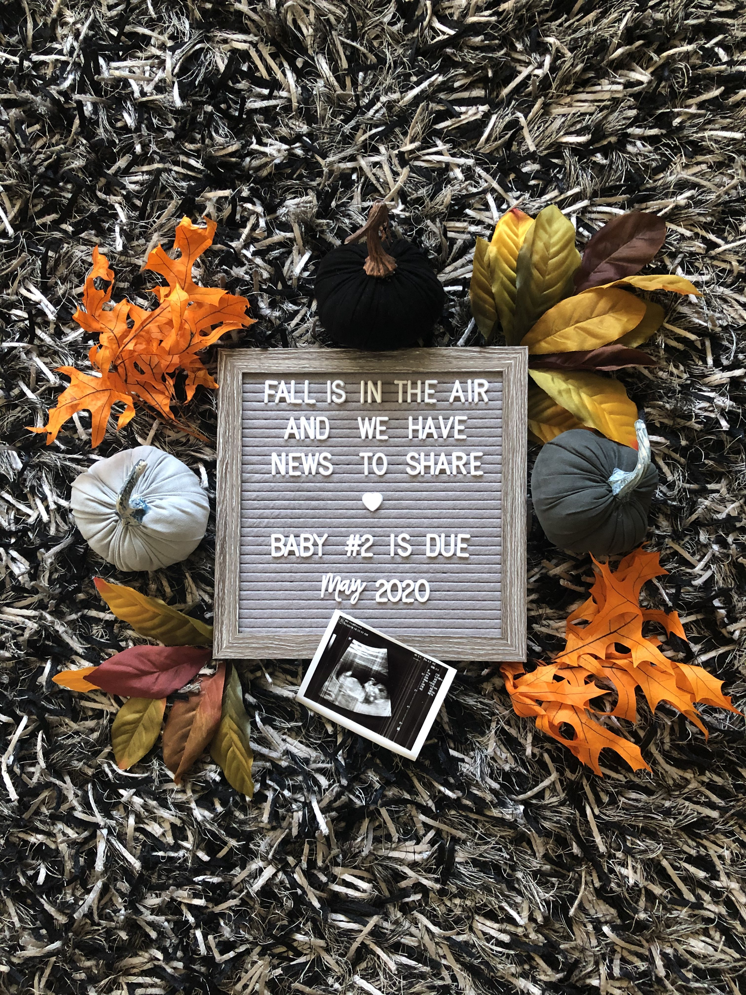 Fall Baby Announcement In 2020 Fall Baby Announcement Fun Baby Announcement Second Baby Announcements