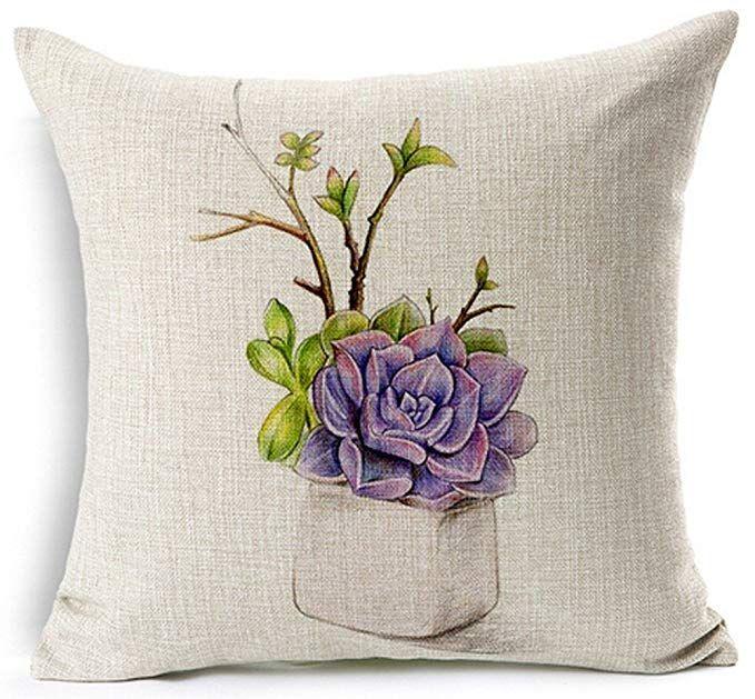 Amazon Com Funda De Almohada De Algodón Y Lino Para El Hogar Fresca Y Colorida Pintada A Mano Sucu Throw Pillows Floral Pillowcase Sunflower Throw Pillows