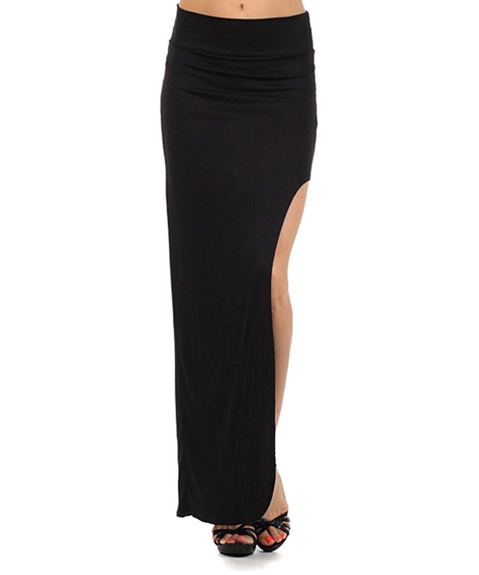 Look what I found on #zulily! Black Side-Slit Maxi Skirt by J-Mode USA Los Angeles #zulilyfinds