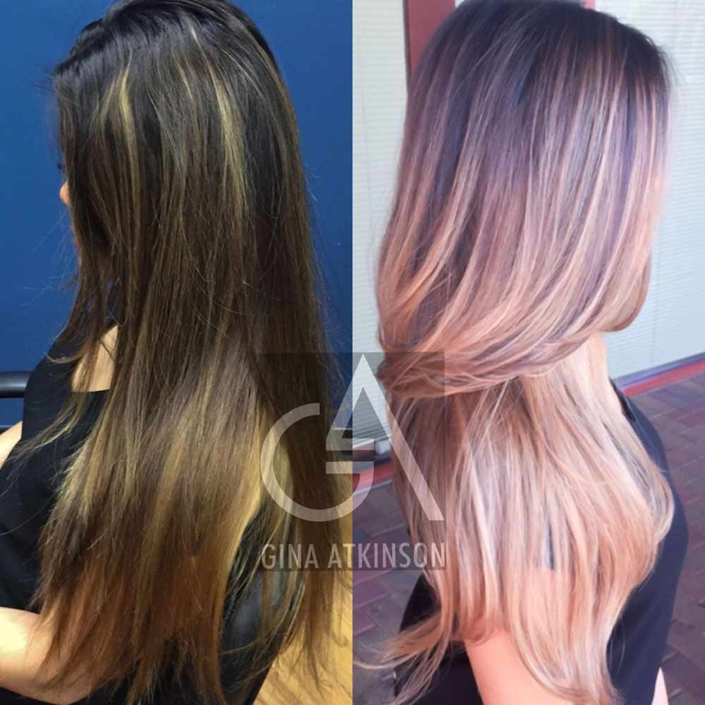 Transformation Low Maintenance Dusty Pink Balayage Hair Color