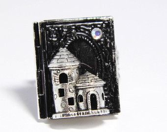 castle poison ring gothic ring silver locket keepsake jewelry vampire castle