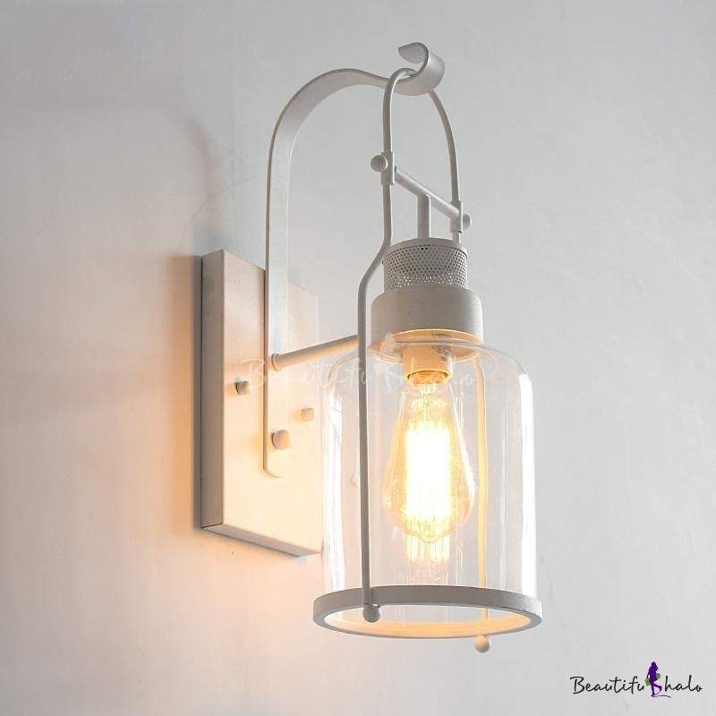 Industrial Wall Light In Nautical Style With Bottle Shade In White Wall Lights Industrial Wall Lights Industrial Wall