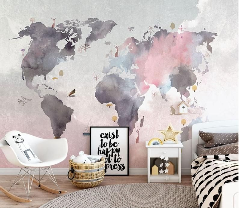 Stylish Abstract World Map Wallpaper Mural for Home or Business #worldmapmural