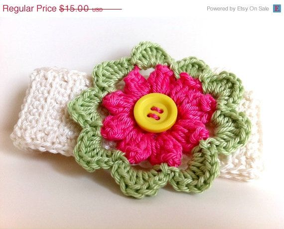 ON SALE Handmade Crochet headband with a Crochet by FairyOfColor, $12.00