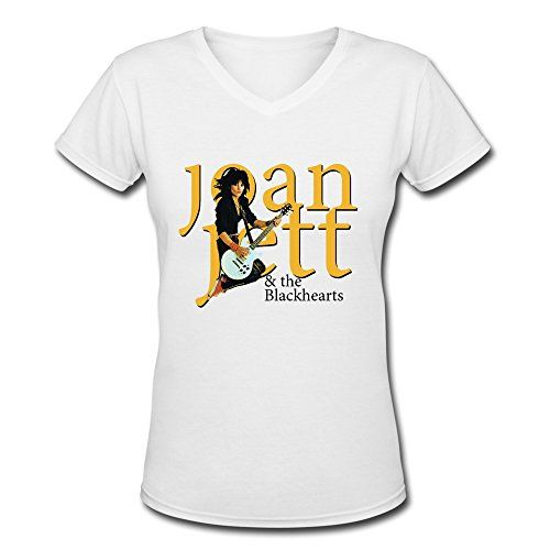 AOPO Joan Jett  The Blackhearts VNeck Short Sleeve Tshirt For Women * To view further for this item, visit the image link.(This is an Amazon affiliate link)