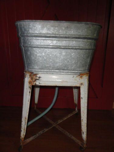 Primitive Laundry Wash Tub W Stand Galvanized Laundry Drain Tub 32 Tall Garden Primitive Laundry Rooms Washing Laundry Wash Tubs