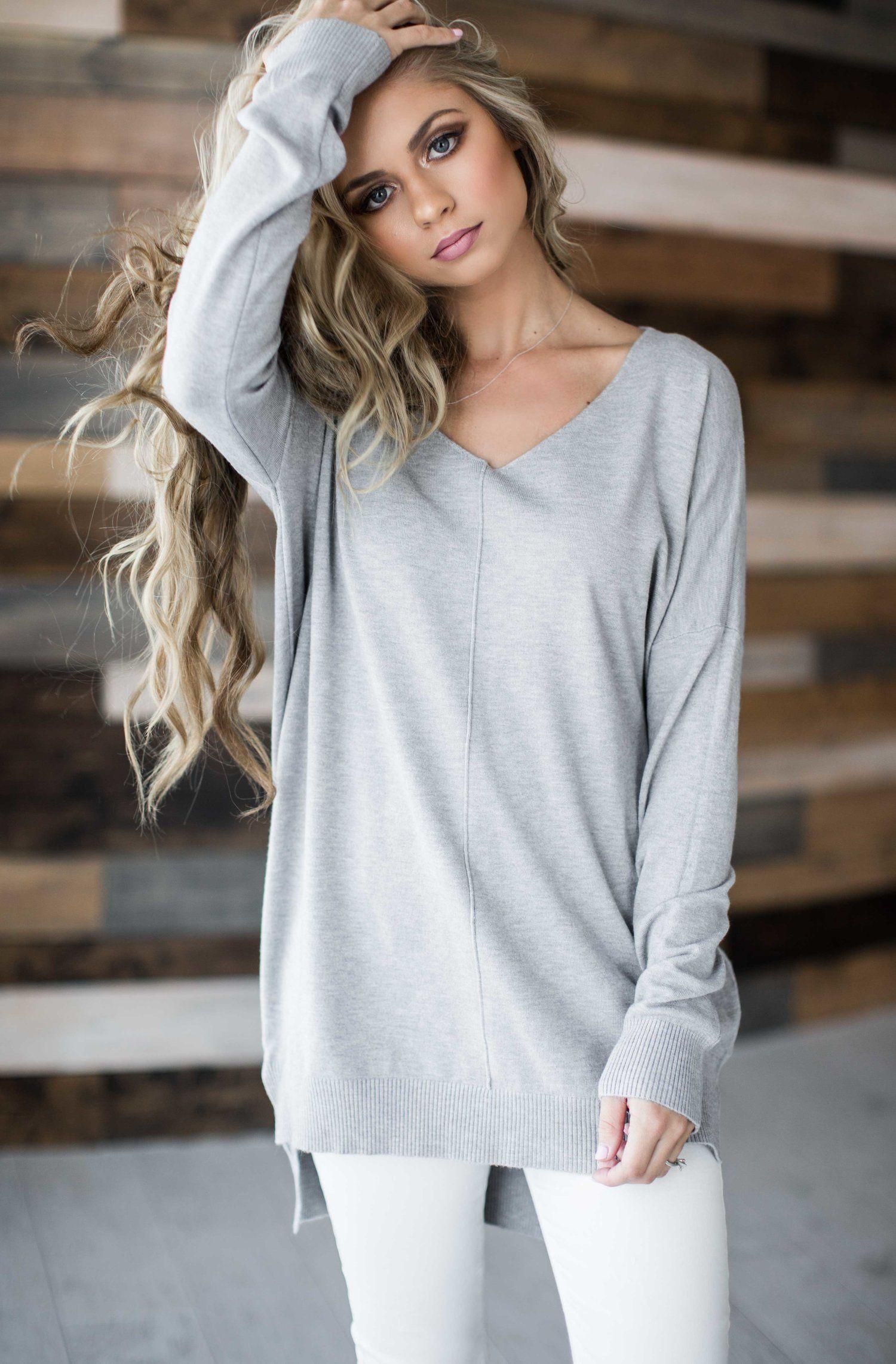 9a2fb0b0f spring sweater, blush, pastel, sweater, spring style, fashion, style, blonde,  hair, shop jessakae, shirts, makeup, grey