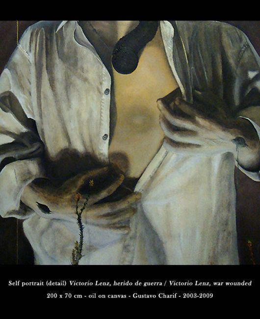 Victorio Lenz, herido de guerra. [Detalle.] Óleo sobre tela, Victorio Lenz, war wounded. [Detail.] Oil on canvas. Gustavo Charif 2003-2009.