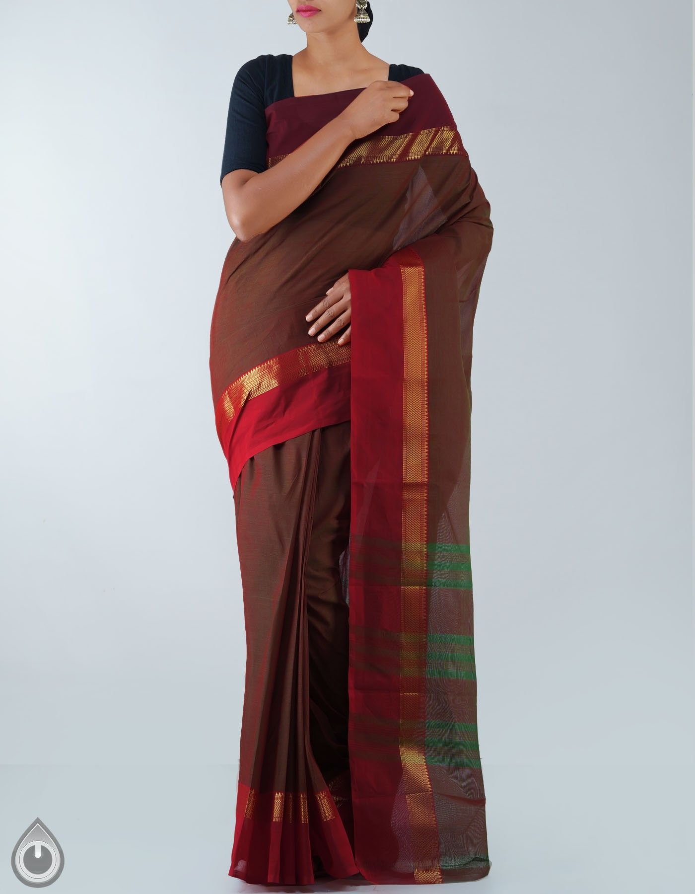 09de02f717 Green and Orange Pure Handloom Chettinad Cotton Saree,It has green thread  woven stripes elegant pallu ,This beautiful saree comes with Handloom  Mark,This ...