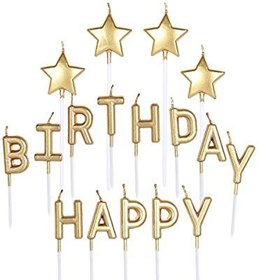 Amazon Pinkblume Gold Happy Birthday CandleStar Cake Toppers Party Decorations