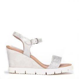 Cuñas deportivas Weekend by Pedro Miralles en piel color plata #shoes #ss16 #inspiration #shoeporn #silver #metal #sandals #sporty #zapatos #moda #calzado