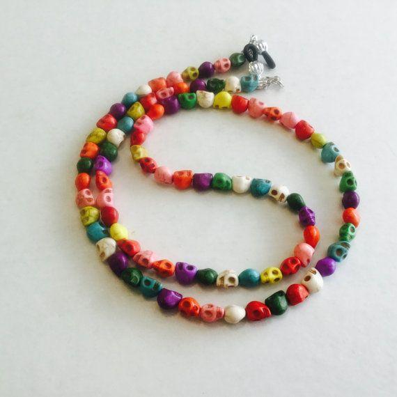 Multicolored Stone Skulls Eyeglass Chain-Sunglass Chain-Eyeglass Holder-Necklace