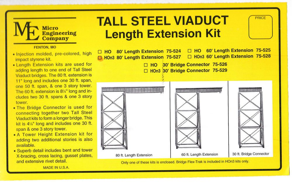 Tall Steel Viaduct Length Extension 80' Includes HOn3