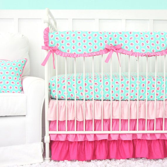 Molly's Mint Ruffle Designer Bumperless Baby Bedding | 2 or 3 Piece Crib Set