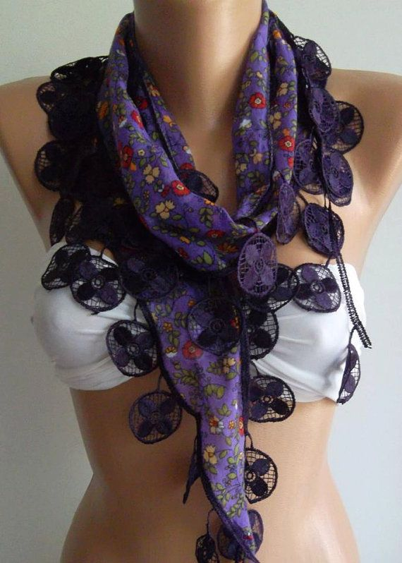 Purple  Elegance Shawl with Lacy Edge by womann on Etsy,