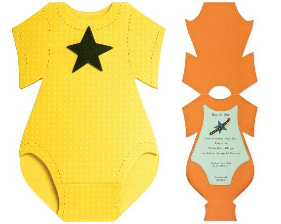 New Onesie Card Baby Shower Invitation Template By MartaZylaDesign - Onesie baby shower invitations template