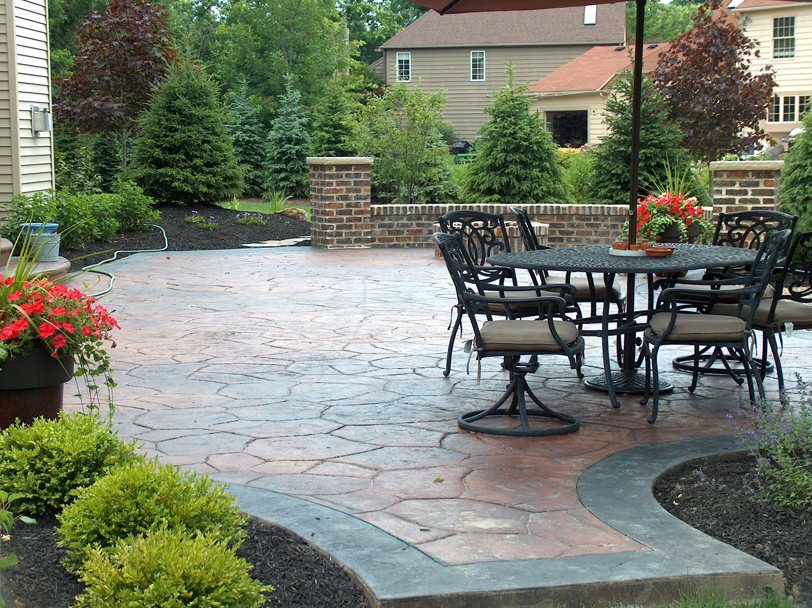 Acid Stained Stamped Concrete Patio Www Fordsonconcrete