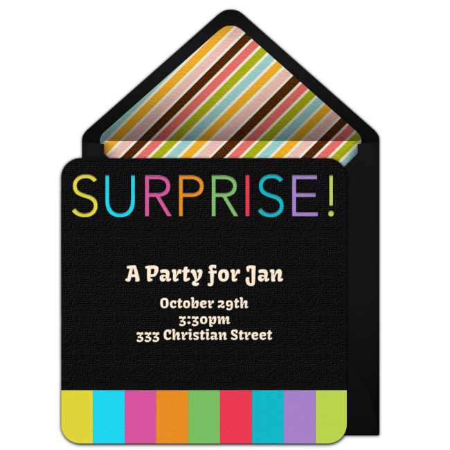 Customizable Free Surprise Stripes Online Invitations Easy To Personalize And Send For A Party