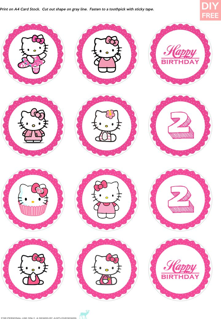 JUSTLOVEDESIGN - DIY FREE Hello Kitty Cupcake Toppers ...