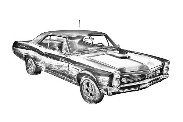 Classic 1967 Pontiac GTO muscle car digital illustration
