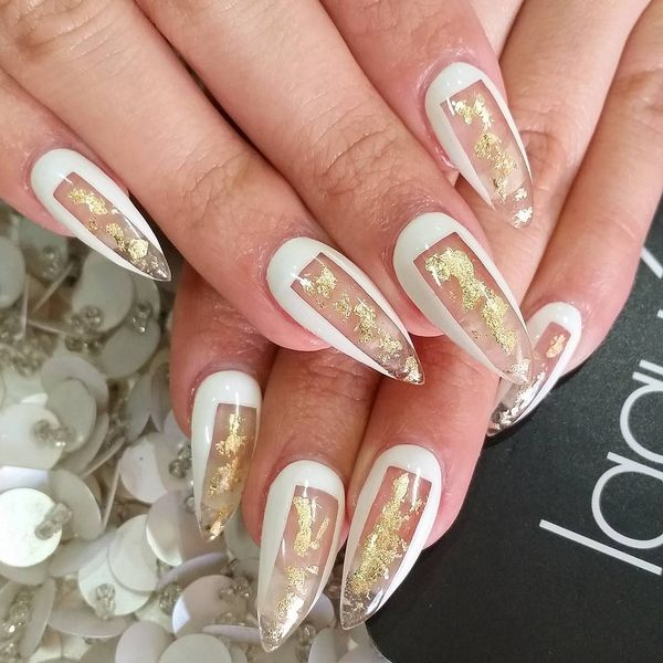White And Gold Stiletto Nails Pinterest