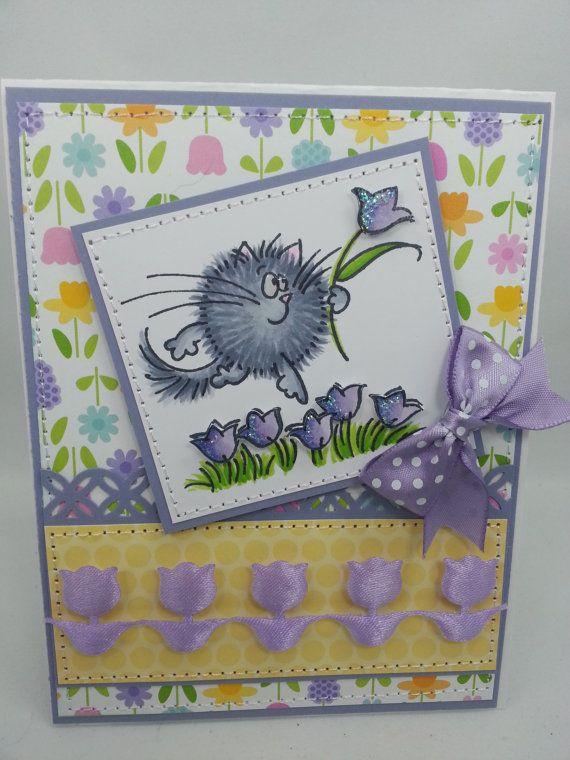 Spring Fluffles Tulips Handmade Card By