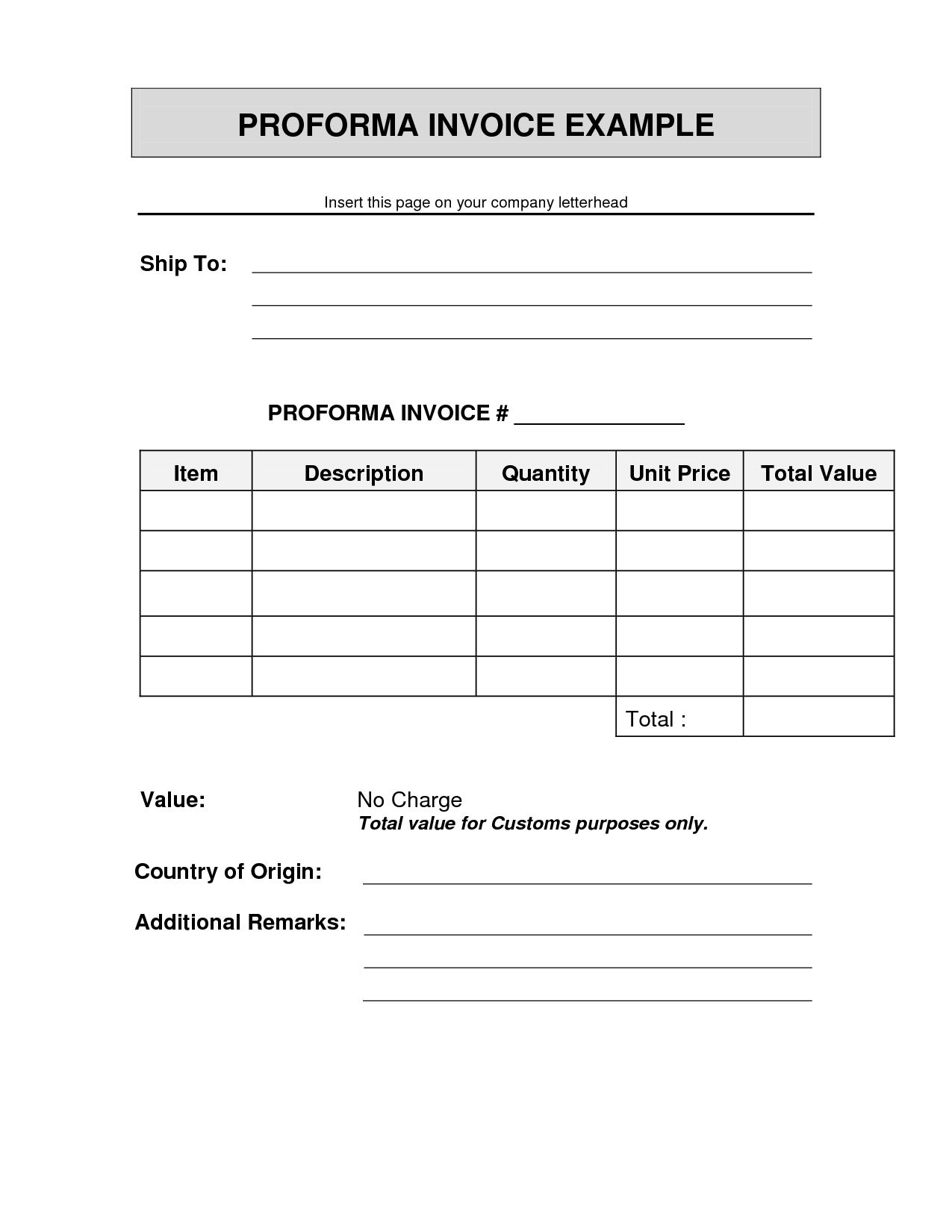 Invoice Proforma Sample Sample Shipping Invoice
