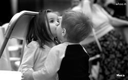 Little Boy Kiss To Child Girl Black And White Hd Baby Kiss Wallpaper