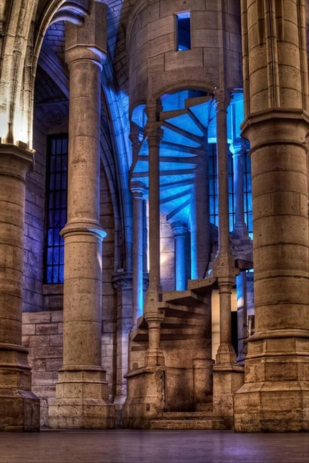 Staircase in La Conciergerie inParis, France. La Conciergerie is a former royal palace and prison. It is part of the larger complex known as the Palais de Justice, which is still used for judicial purposes. by W. Brian Duncan