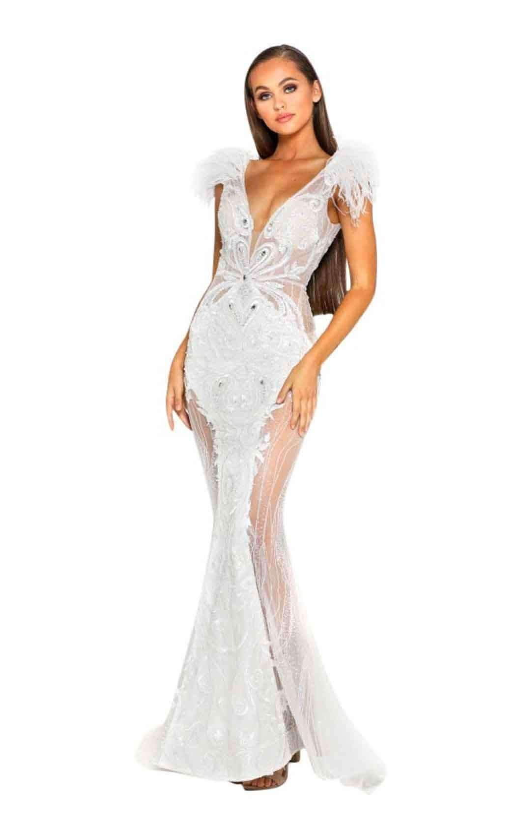 School Prom Long Feather dresses