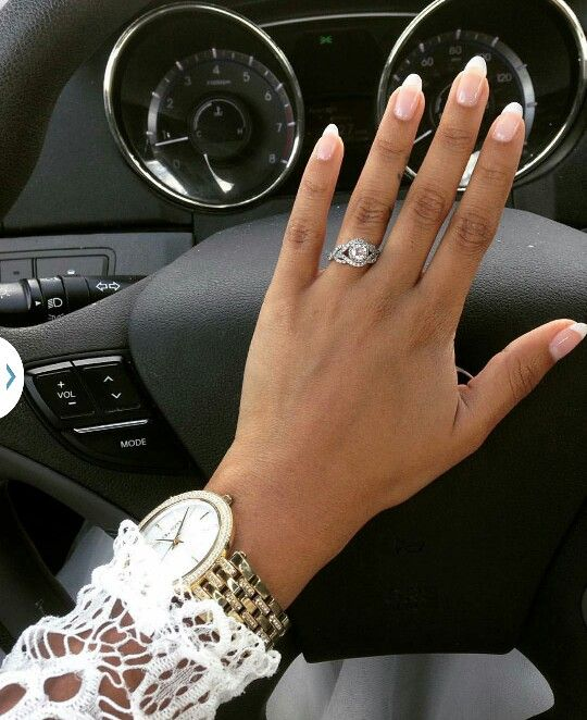 Oval shaped French Manicure