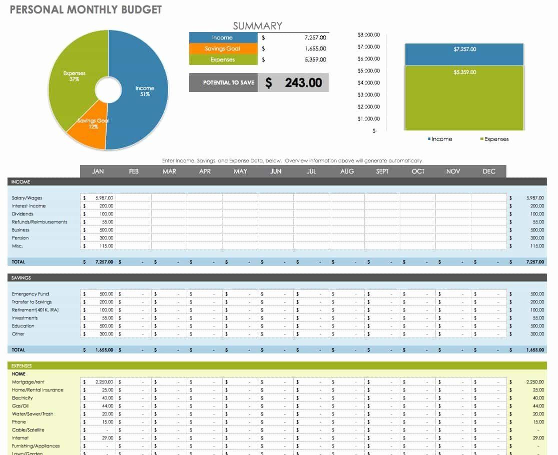 40 Monthly Budget Template Excel In With Images