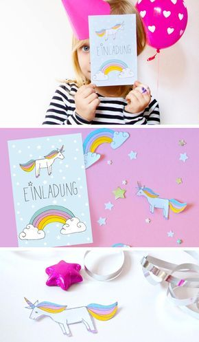 diy // einhorn-einladung zum kindergeburtstag - free printable, Hause und Garten