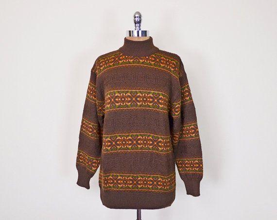 Vintage 90s 70s Brown Southwestern Sweater Jumper Southwest ...