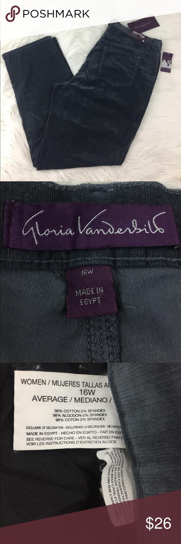 2dbcbfe9262 Gloria Vanderbilt Corduroy Slate Gray Jeans. J5 Gloria Vanderbilt plus size  women s 16 W Slate
