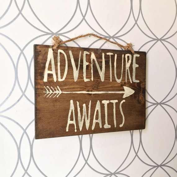 Sm Adventure Awaits Sign / Wood Sign / Hippie Sign / Bohemian Decor