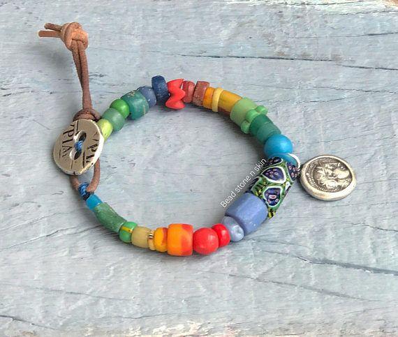 Silver Beads Bracelet Boho Silver Bracelet Boho Silver Pendant Bracelet Beaded Boho Bracelet Ethnic Hippie Tribal Pendant Coin Bracelet
