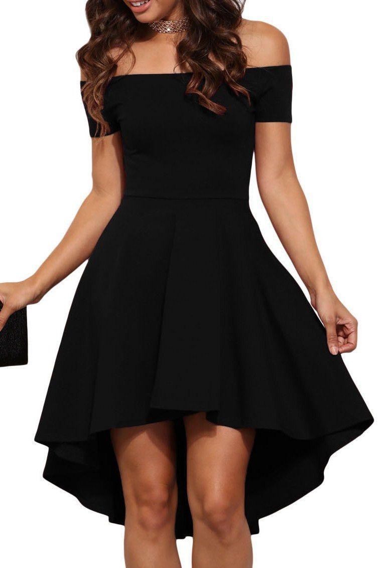 Black off shoulder cocktail party skater dress in cute