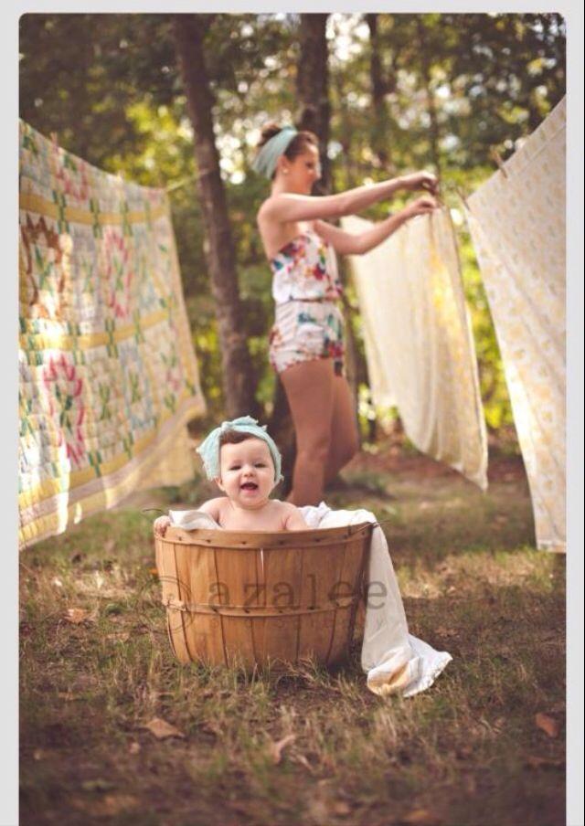 Clothesline laundry photo shoot