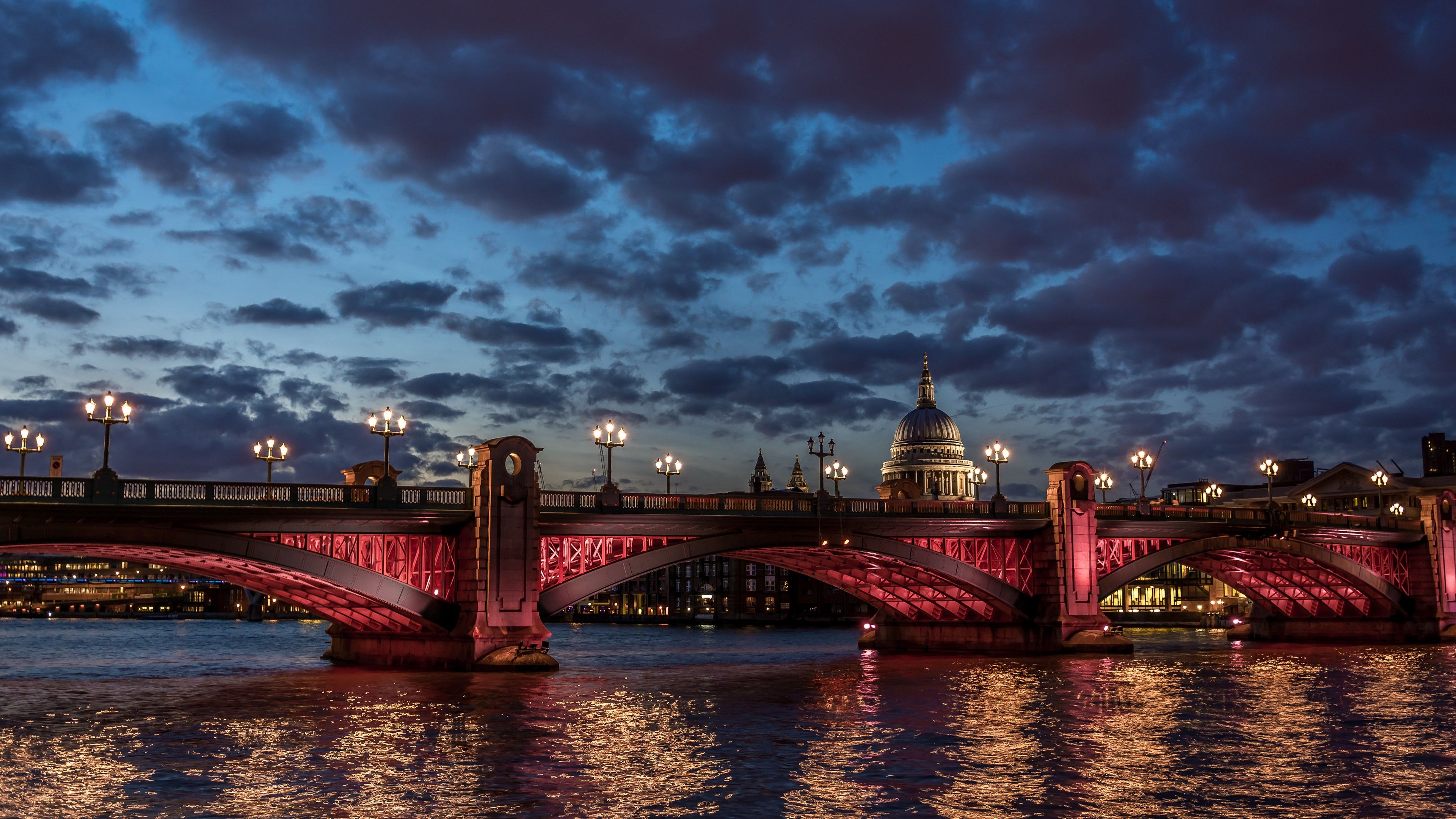 London River Thames St Paul Cathedral Water Night Clouds Sky Sunset Twilight Night Light Travel Vacation London Wallpaper Westminster Bridge Beautiful London