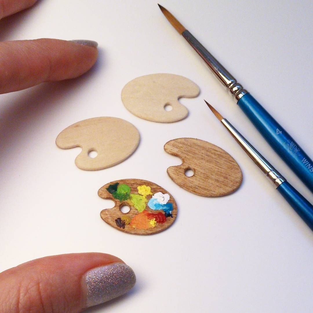 Yesterday I Made Four Wooden Artist Palettes And One Is Already Used Small Perfection Makes Me Happy M Miniature Crafts Diy Doll Scrapbook Crafts