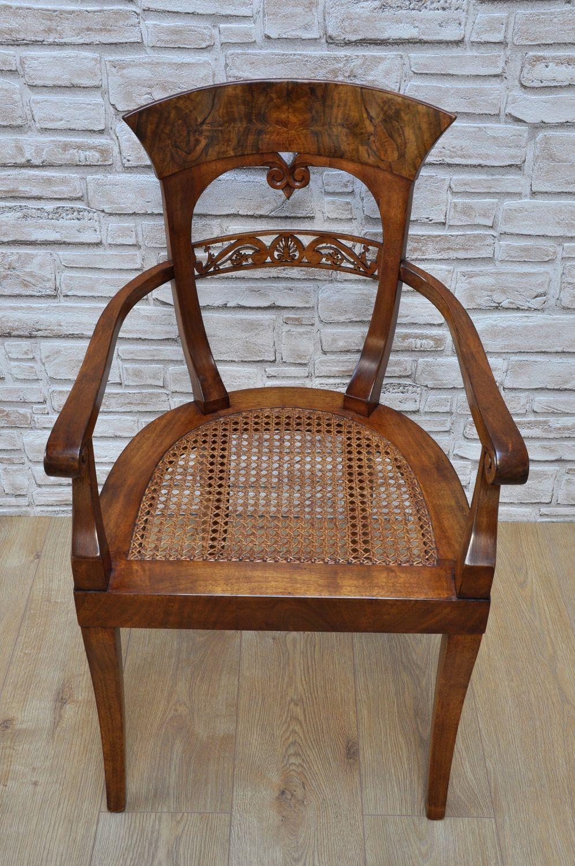 Pregiata sedia con braccioli poltroncina intarsiata e
