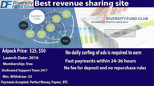 Diversity Fund Revshare Review: latest payment proof,tips,video tutorials: Earn $100 per day