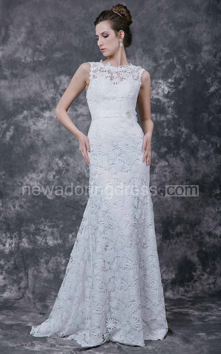 Floral overlay fitted wedding gown floral neckline lace crochet