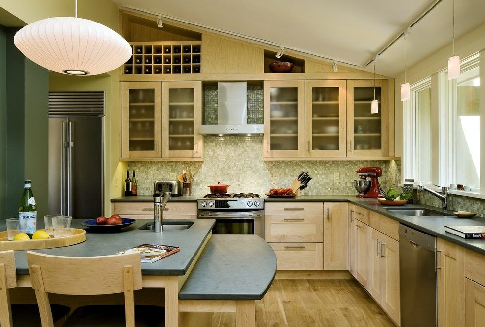 Bright Countertops Kitchen Contemporary With Slanted Ceiling Metal Look Mosaic Backsplash Wall Tiles Contemporary Kitchen Kitchen Kitchen Layout