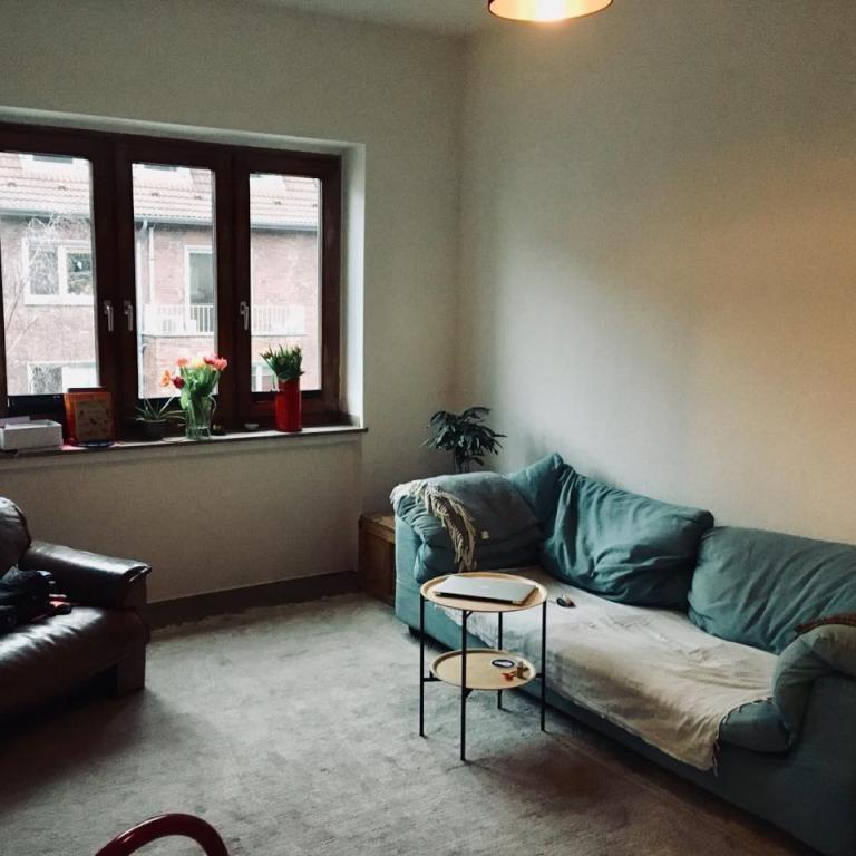 Gemütliches Wohnzimmer mit Teppichboden und blaugrauer Couch #couch - gemütliches sofa wohnzimmer