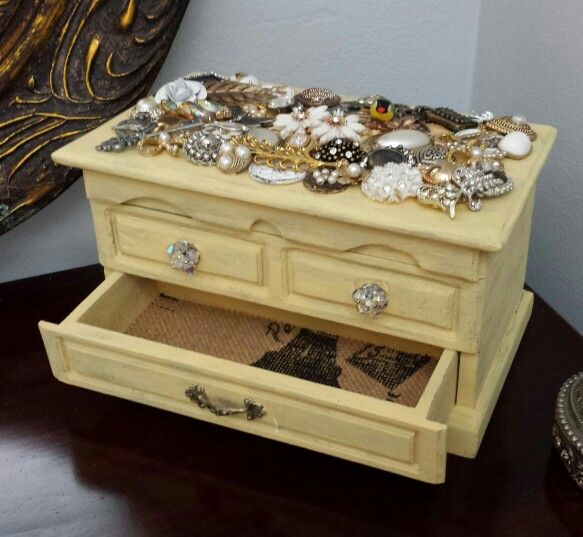 Repurposed Jewelry Box in Distressed Yellow with burlap draw liners. $65